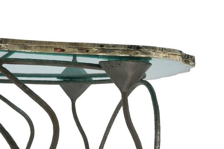 Flower Dining Console Table Iron Patina Surface double Glass Silvered in stock In Excellent Condition For Sale In Pietrasanta, IT