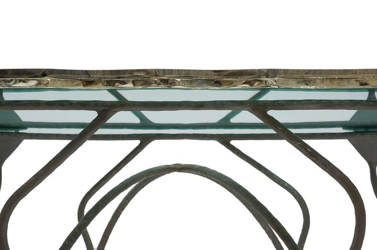 Contemporary Flower Dining Console Table Iron Patina Surface double Glass Silvered in stock For Sale