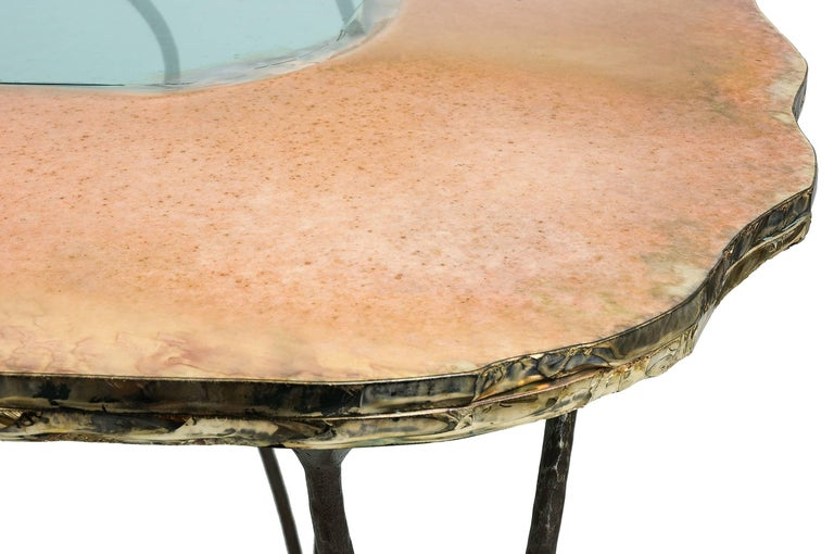 Art Glass Flower Dining Console Table Iron Patina Surface double Glass Silvered in stock For Sale