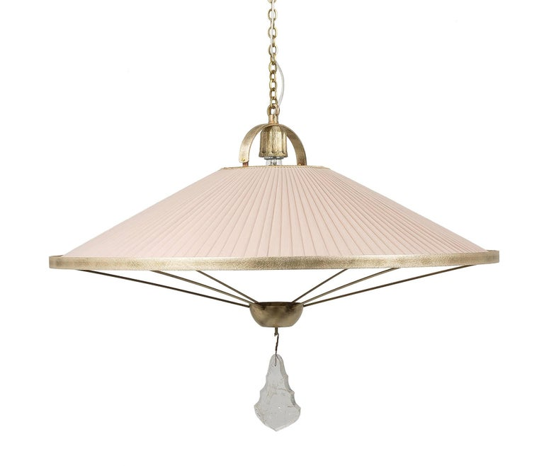 Sunshine Pendant Lamp Chiffon Silk Shade Savanna Color with Silvered Glass Jewel In New Condition For Sale In Pietrasanta, IT