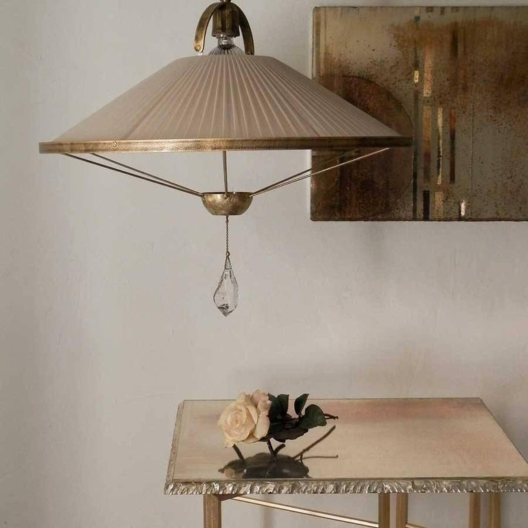 Sunshine Pendant Lamp Chiffon Silk Shade Savanna Color with Silvered Glass Jewel For Sale 1