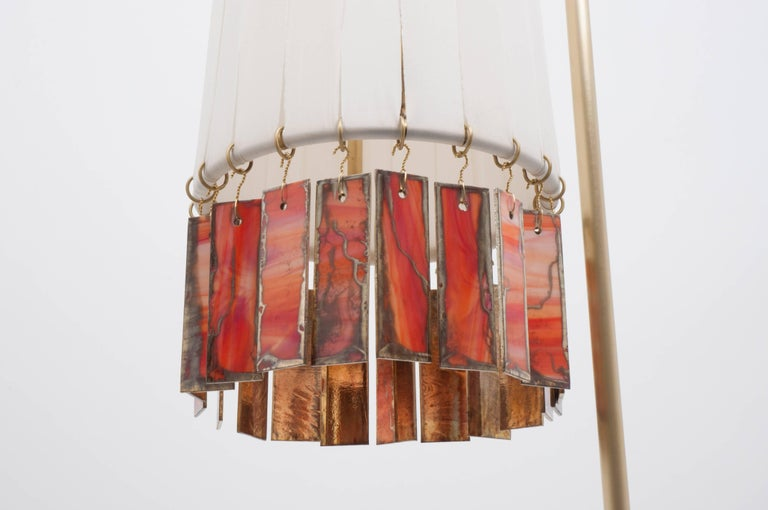 Modern Magic Standing Lamp in Brass, white strips, orange silvered glass Sheets  For Sale