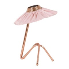 Freevolle sculpture Table Lamp, Copper finish blush Silk Taffeta Handmade