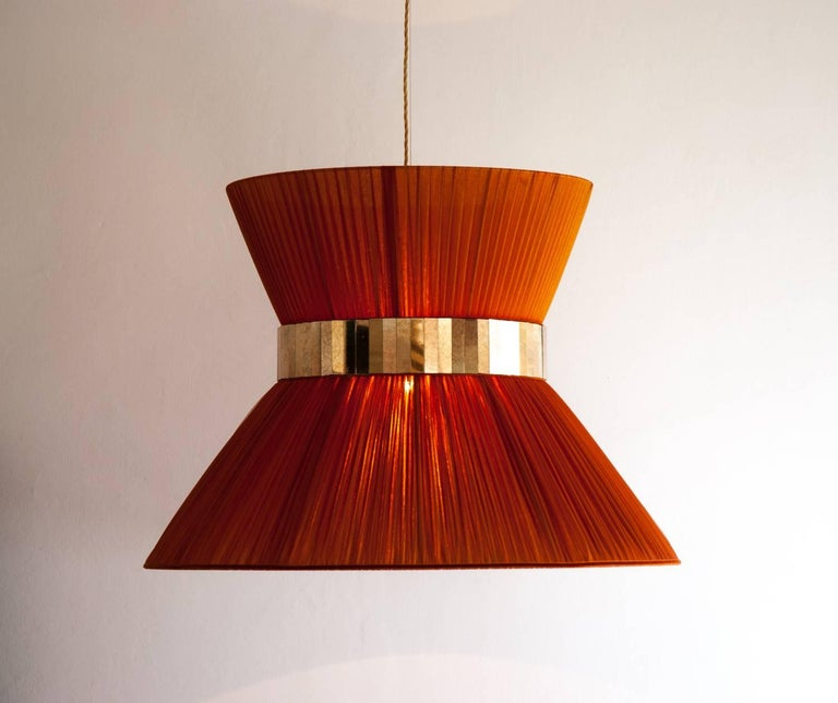 """Italian  """"Tiffany"""" Hanging Lamp in rust Silk and Silvered Glass Handmade in Tuscany  For Sale"""