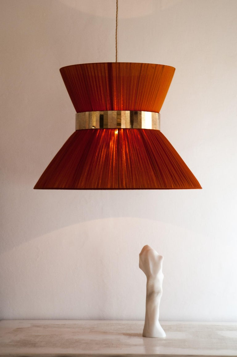 """Contemporary  """"Tiffany"""" Hanging Lamp in rust Silk and Silvered Glass Handmade in Tuscany  For Sale"""