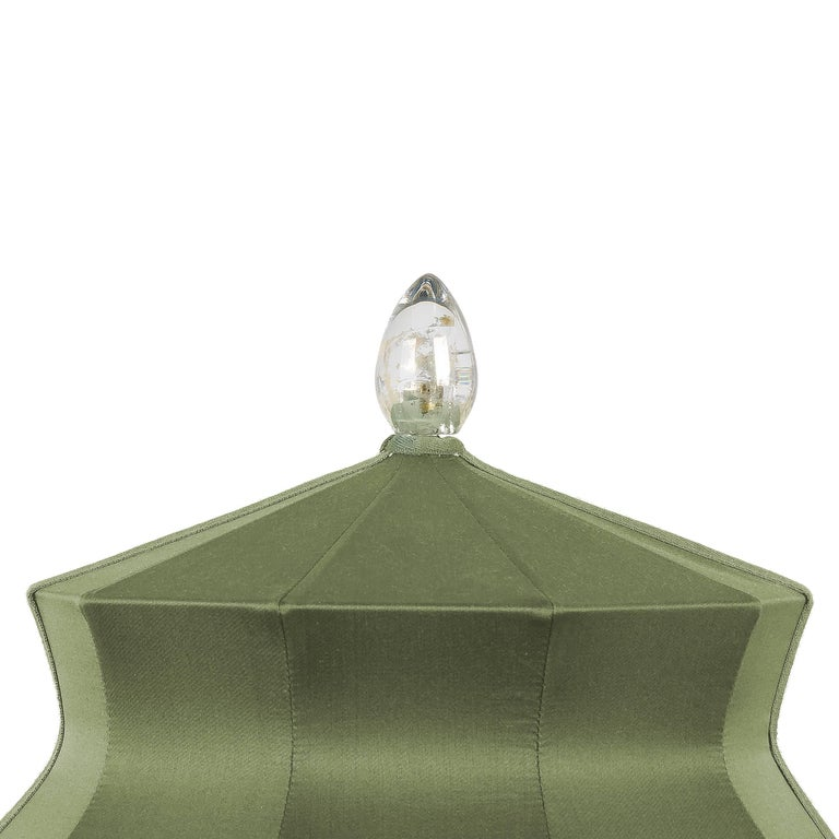 """Modern  """"Pagoda"""" Table Lamp, in brass  and sage Silk, Silver Crystal Tip, Handmade For Sale"""