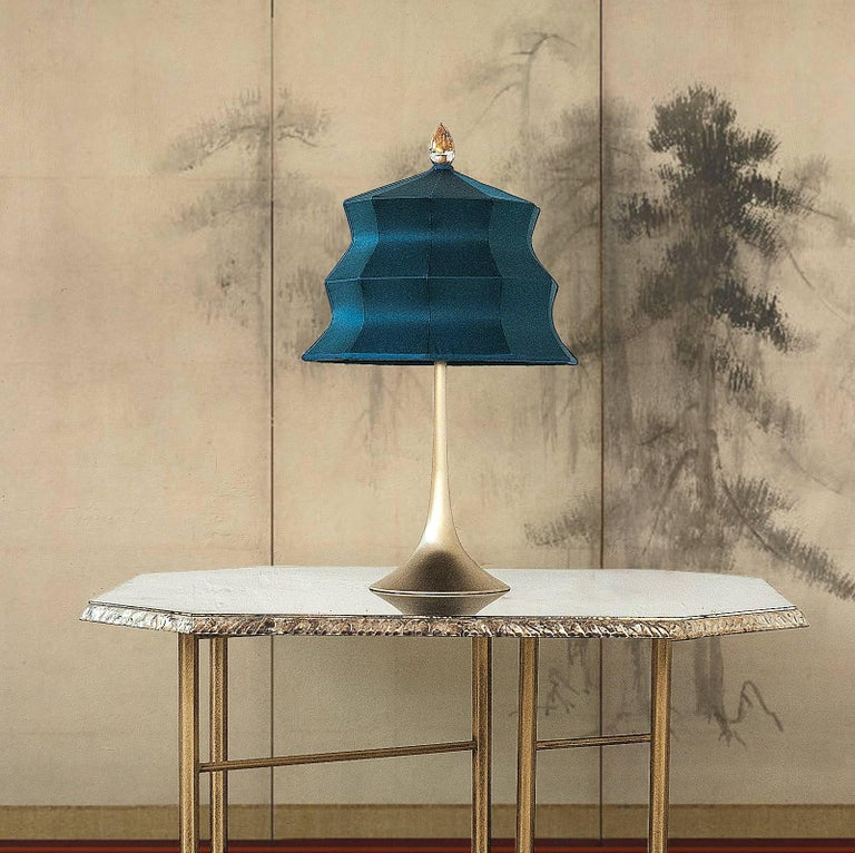 """Contemporary  """"Pagoda"""" Table Lamp, in brass  and sage Silk, Silver Crystal Tip, Handmade For Sale"""