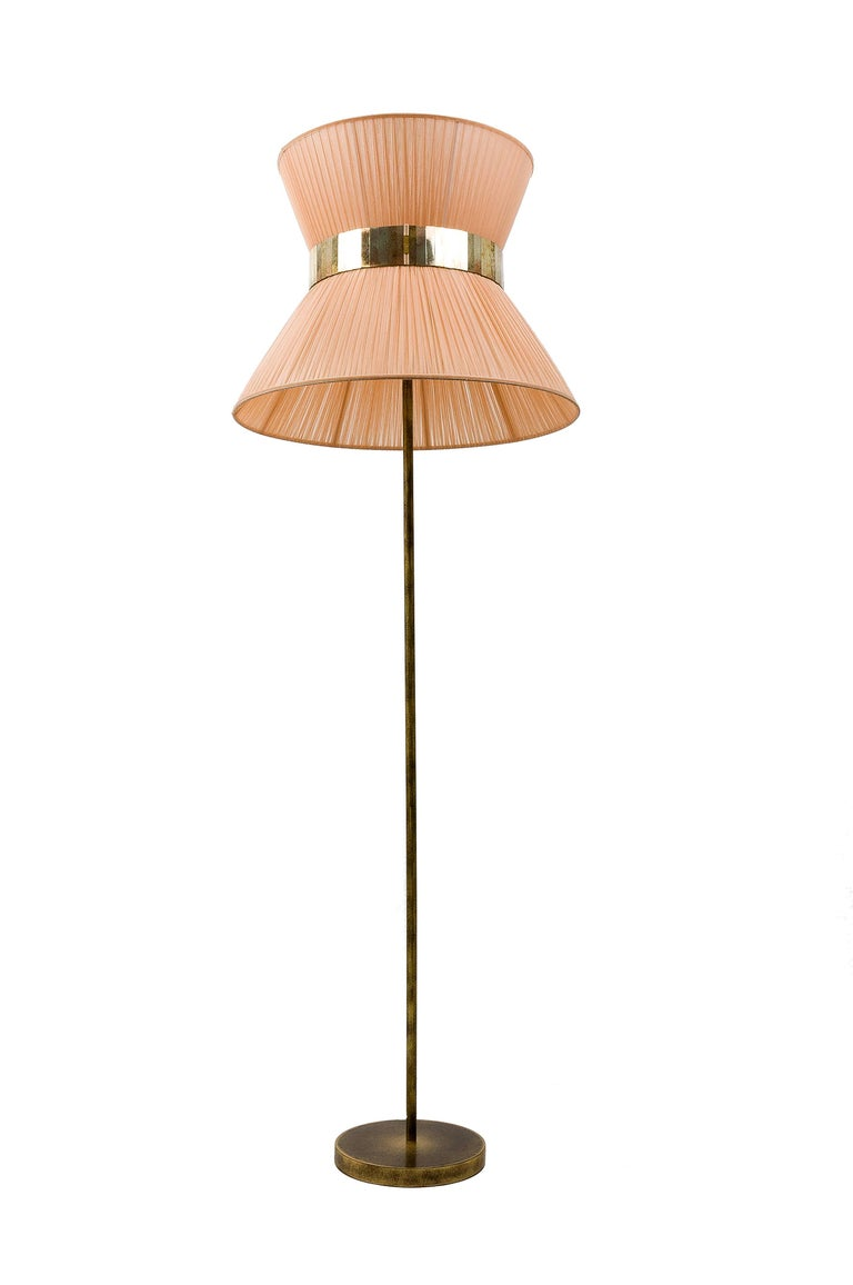Tiffany contemporary Floor Lamp powder Silk, Antiqued Brass, Silvered Glass   For Sale 2