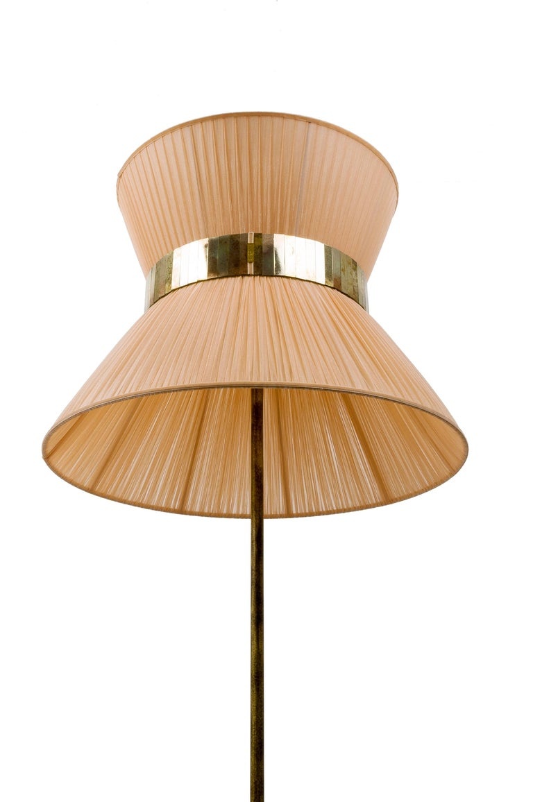 Tiffany contemporary Floor Lamp powder Silk, Antiqued Brass, Silvered Glass   In New Condition For Sale In Pietrasanta, IT