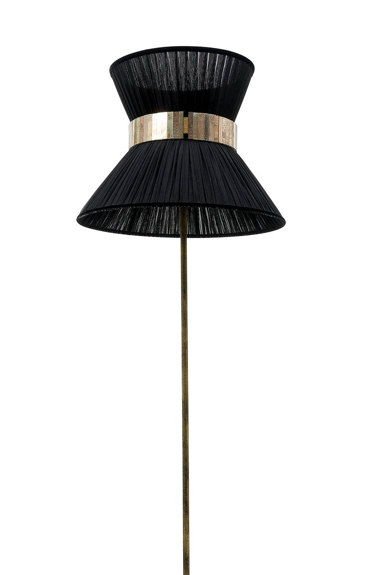 Modern    Tiffany Floor Lamp black Silk, Antiqued Brass, Silvered Glass Handmade    For Sale