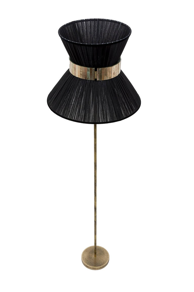 Italian    Tiffany Floor Lamp black Silk, Antiqued Brass, Silvered Glass Handmade    For Sale