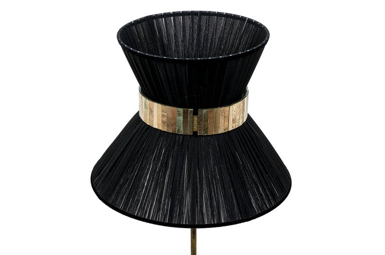 Tiffany contemporary Floor Lamp 40 black Silk,Antiqued Brass,Silvered Glass   In New Condition For Sale In Pietrasanta, IT