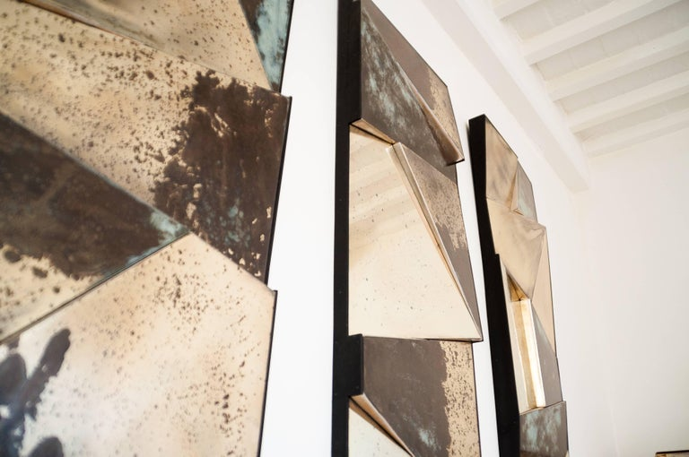 Contemporary Group of 3 contemporary Sculpture Mirrors, Silvered Art Glass, now available   For Sale