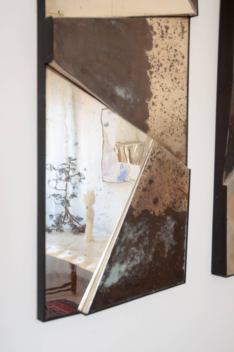 Group of 3 contemporary Sculpture Mirrors, Silvered Art Glass, now available   For Sale 1