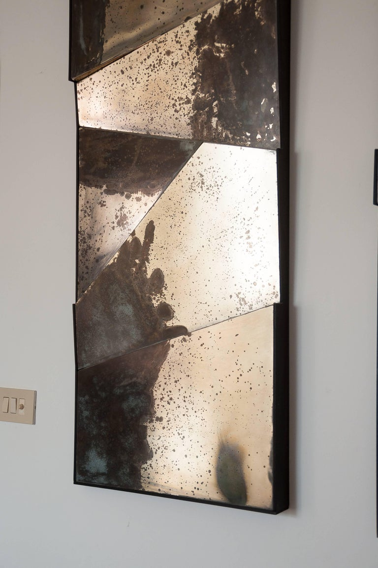 Group of 3 contemporary Sculpture Mirrors, Silvered Art Glass, now available   In New Condition For Sale In Pietrasanta, IT