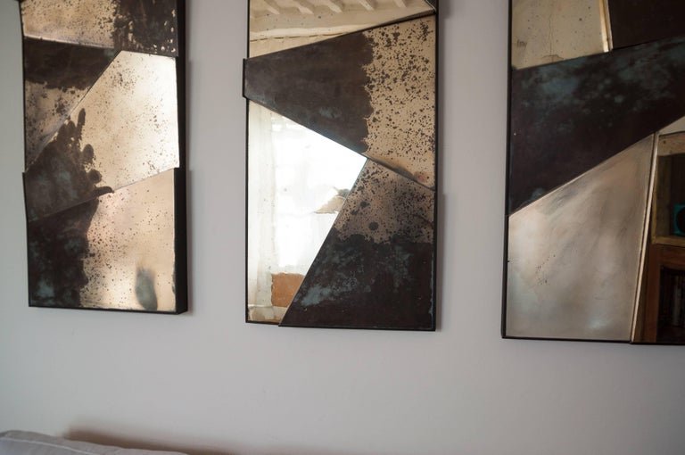 Italian Group of 3 contemporary Sculpture Mirrors, Silvered Art Glass, now available   For Sale