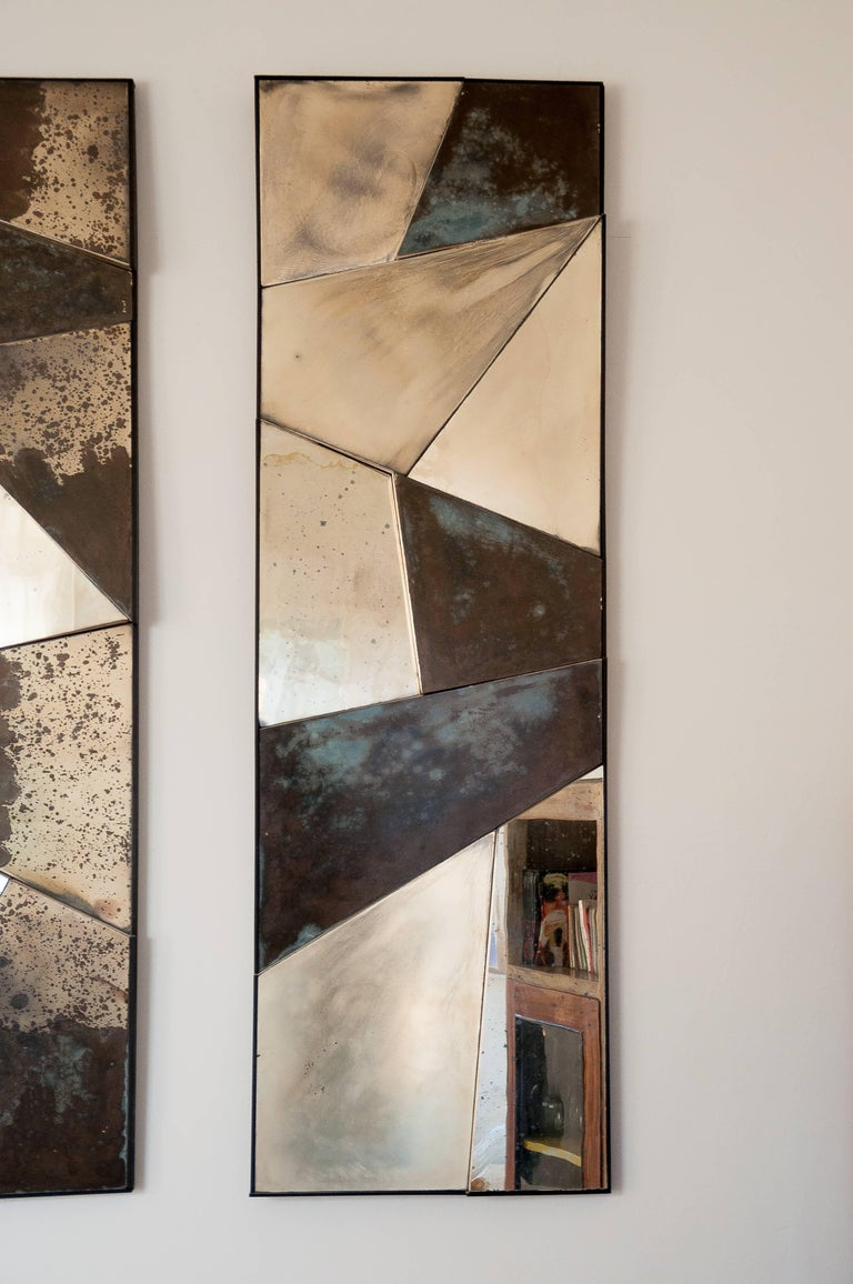 Modern Group of 3 contemporary Sculpture Mirrors, Silvered Art Glass, now available   For Sale