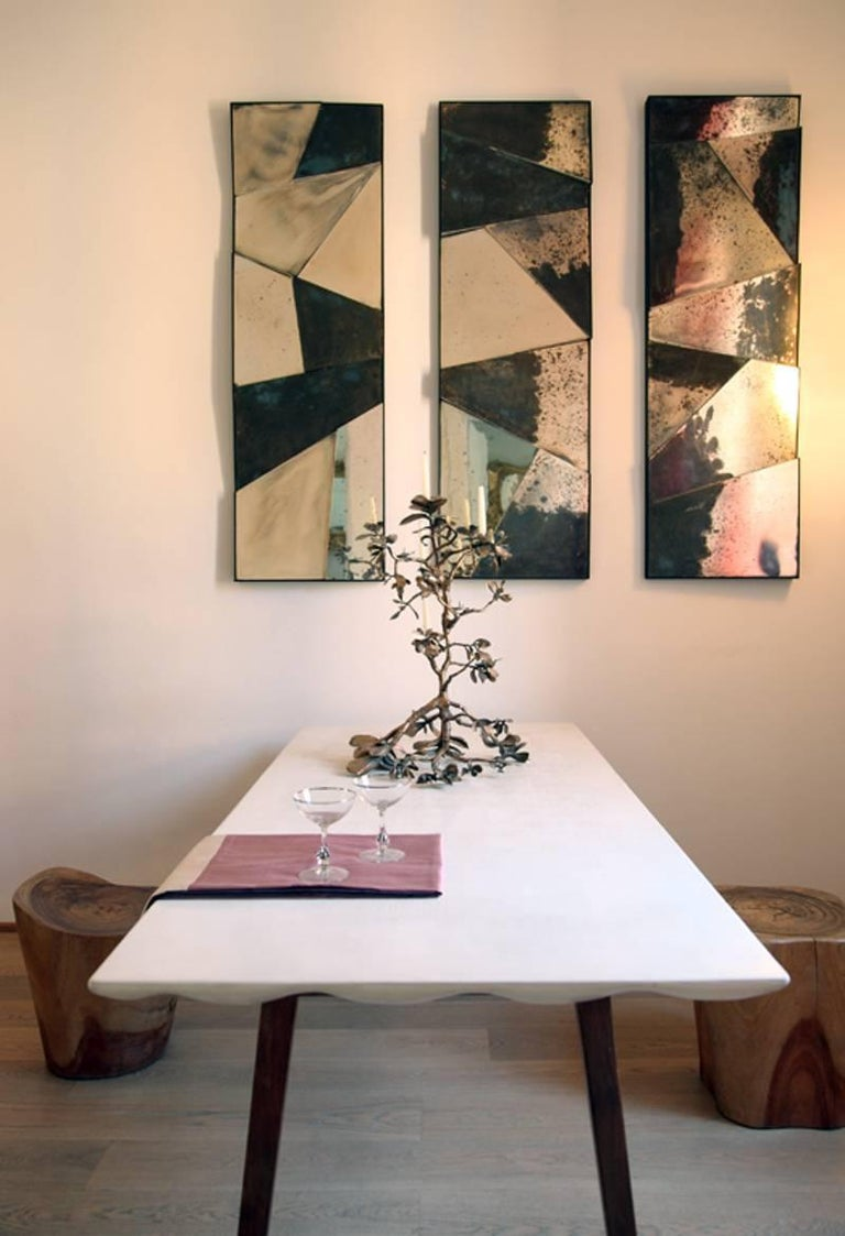 Group of 3 contemporary Sculpture Mirrors, Silvered Art Glass, now available   For Sale 3