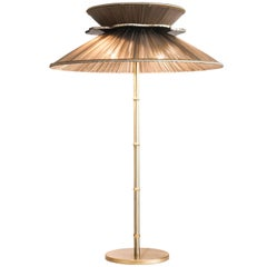 Daisy Table Lamp in Brass, tobacco Silk and silvered clover Glass Handmade