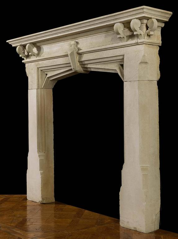 Great Britain (UK) Victorian Limestone Gothic Revival Chimneypiece For Sale