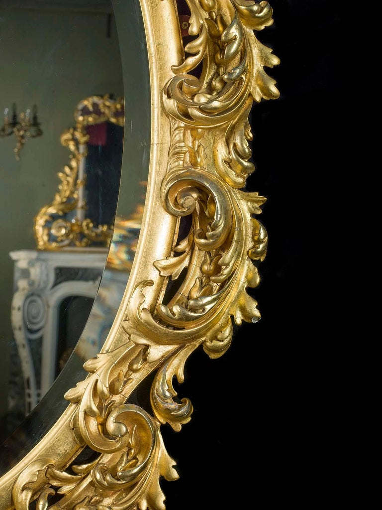 Ornate french rococo style giltwood mirror 19th century for French rococo period