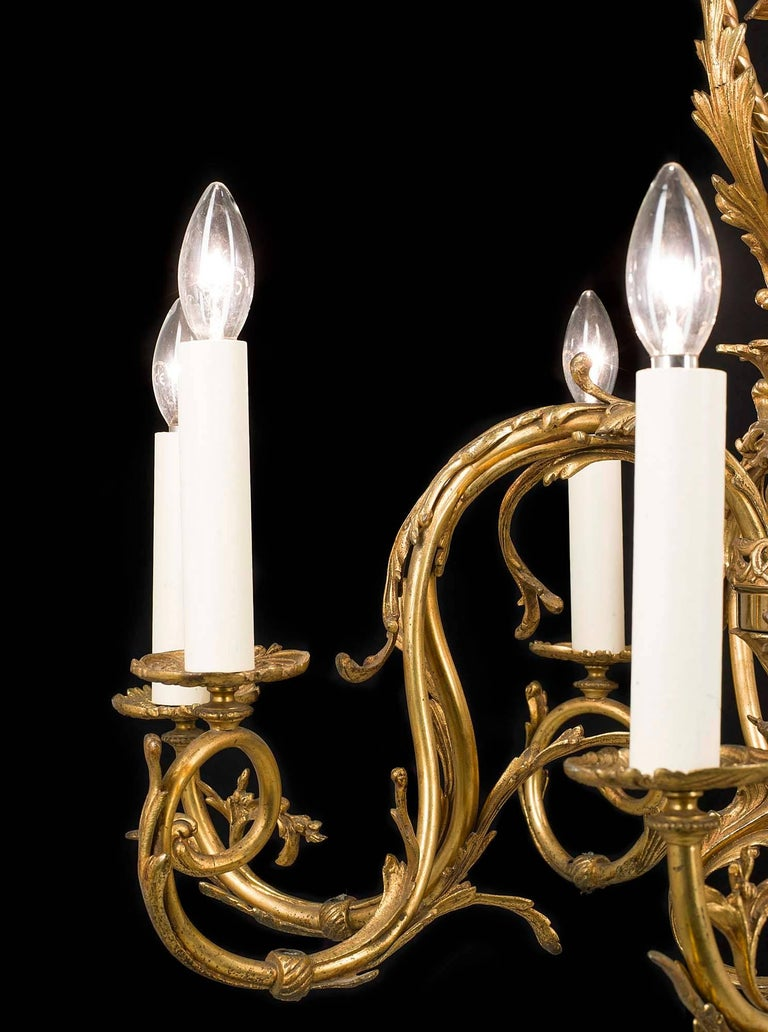 Rococo Revival Gilt Bronze 19th Century Chandelier For Sale