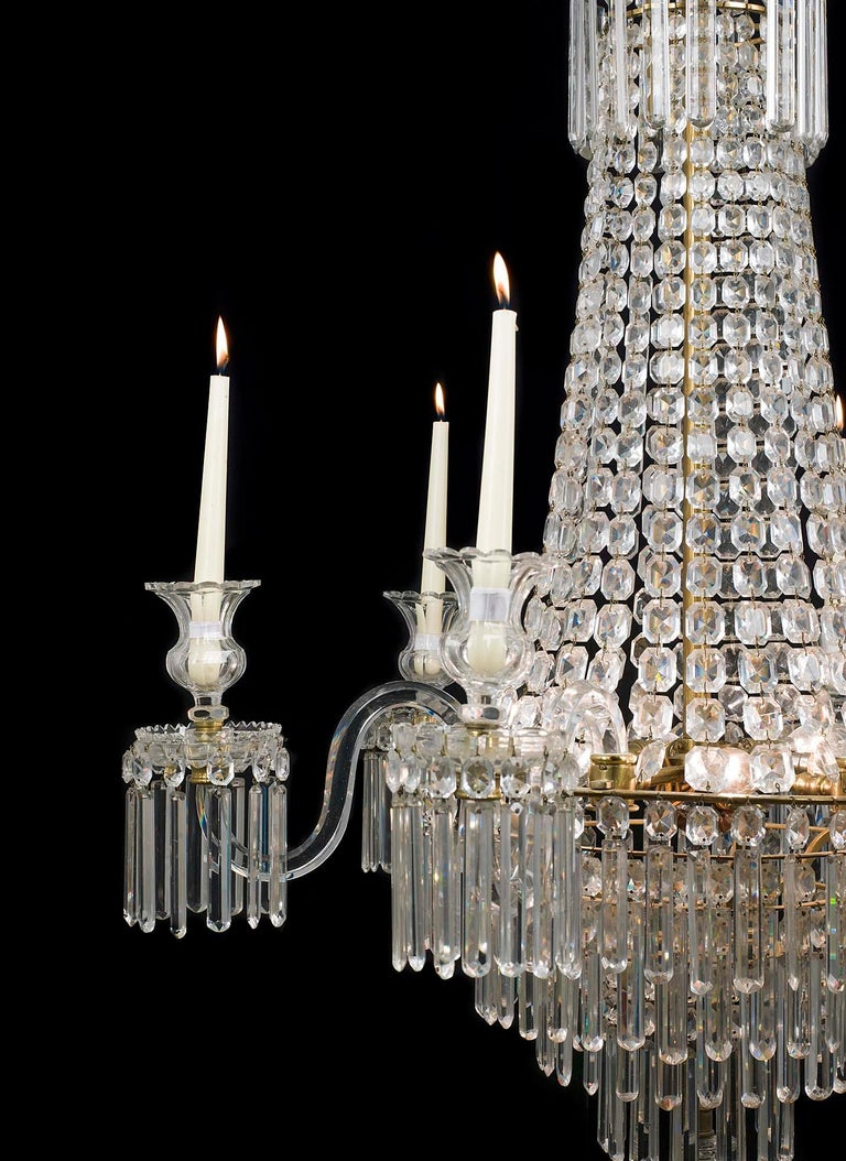 A Very Fine English Regency Six Branch Crystal Waterfall Chandelier The Four Tiers Profusely Hung With