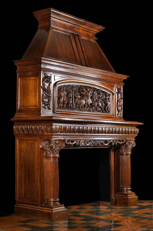 19th Century Antique French Fireplace Mantel Carved In