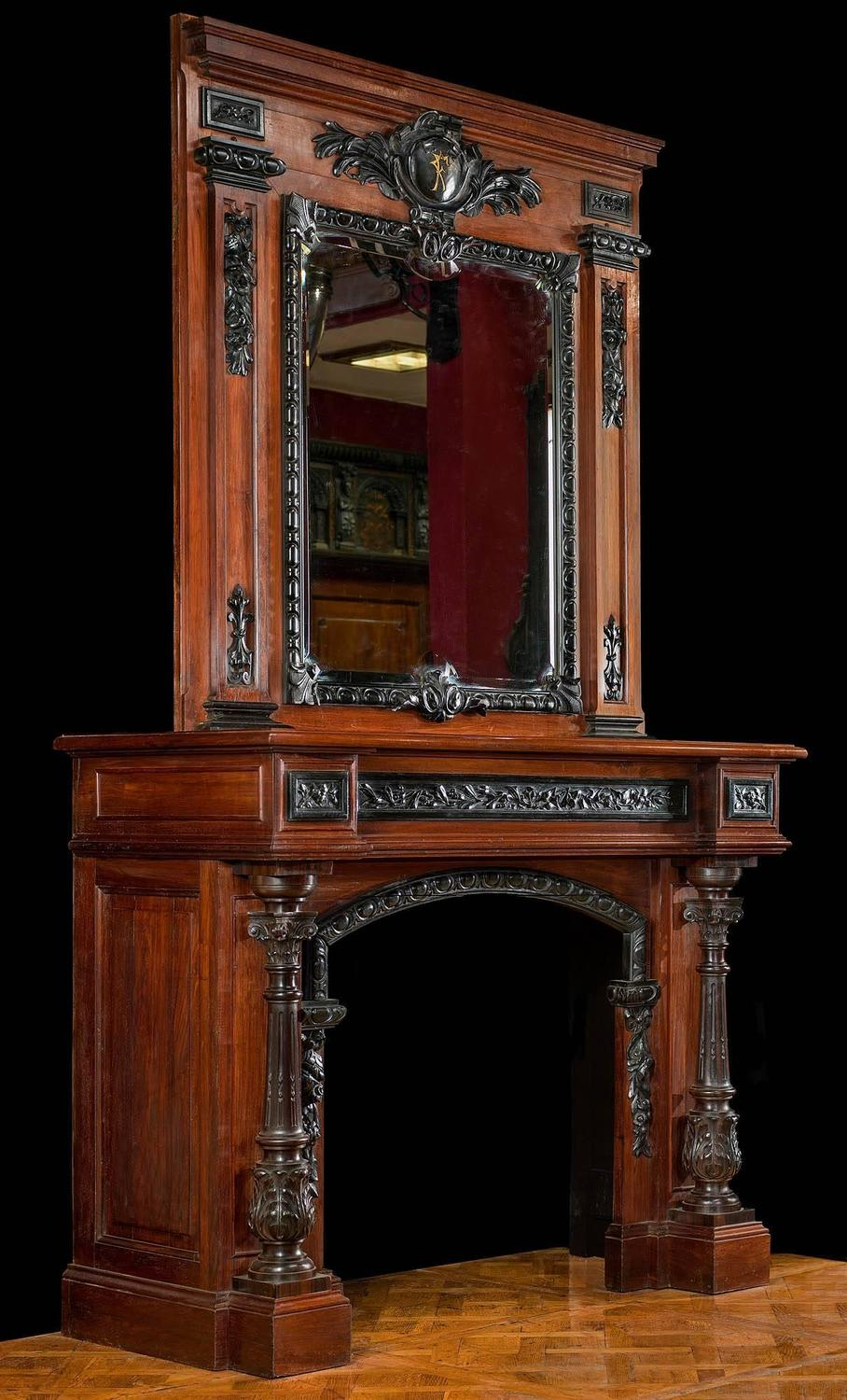 Rosewood And Ebony Antique Fireplace Mantel In The French