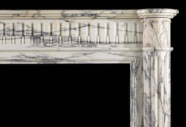 Carved Small French Regency Antique Fireplace Mantel in Arabescato Marble For Sale