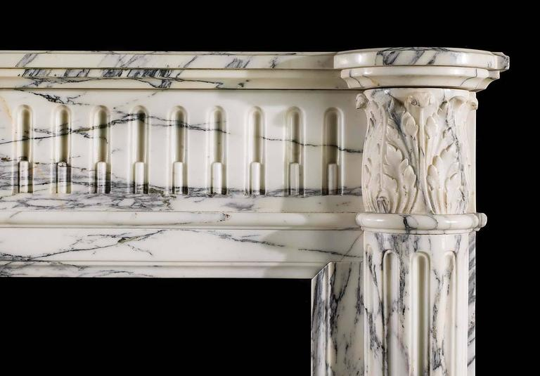 19th Century Small French Regency Antique Fireplace Mantel in Arabescato Marble For Sale