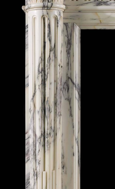 Small French Regency Antique Fireplace Mantel in Arabescato Marble For Sale 2