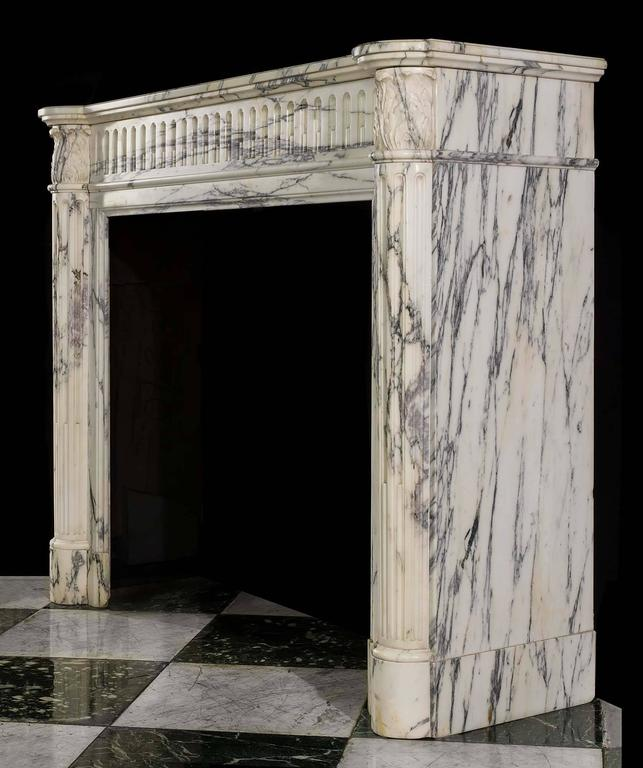 Small French Regency Antique Fireplace Mantel in Arabescato Marble For Sale 4