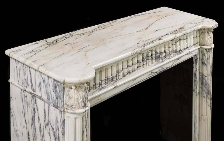 Small French Regency Antique Fireplace Mantel in Arabescato Marble For Sale 5