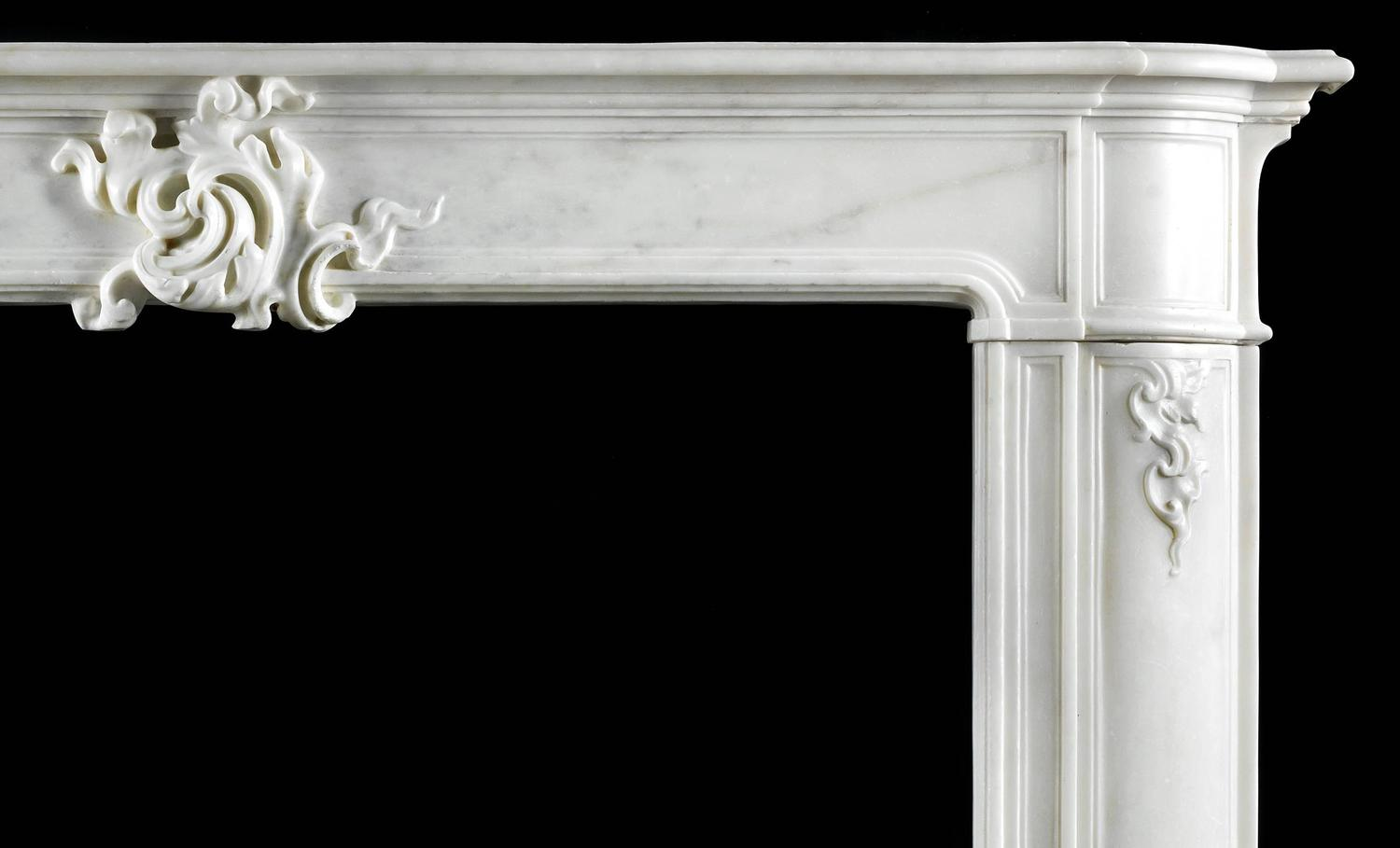 18th century antique fireplace mantel in white statuary