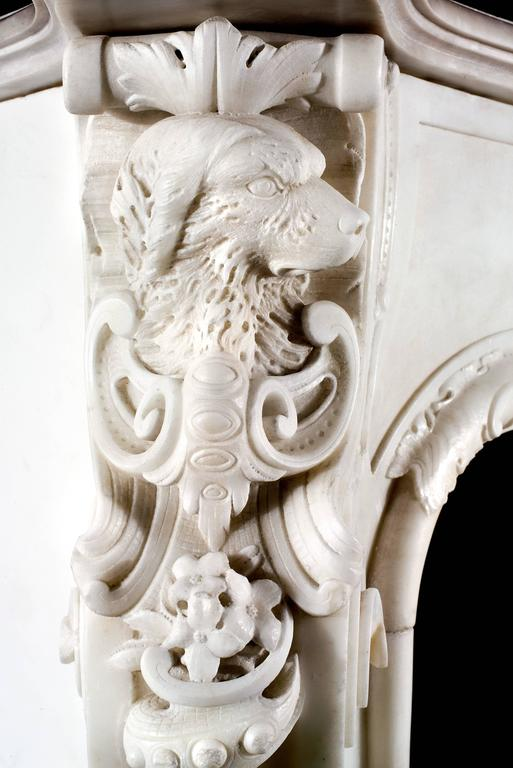 Statuary Marble Very Rare and Important Mid-18th Century English Rococo Marble Fireplace Mantel For Sale