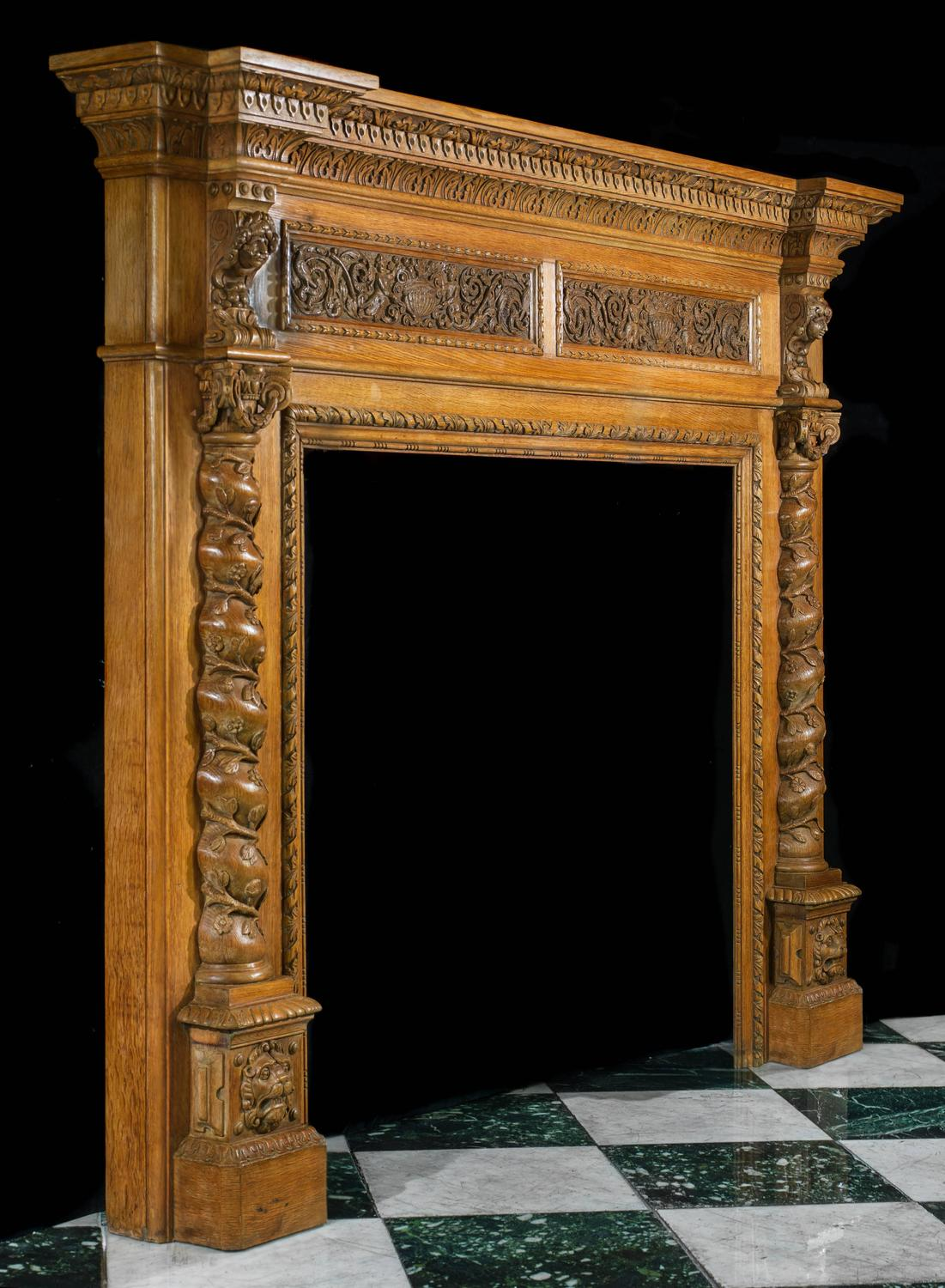 Antique italian renaissance style carved oak