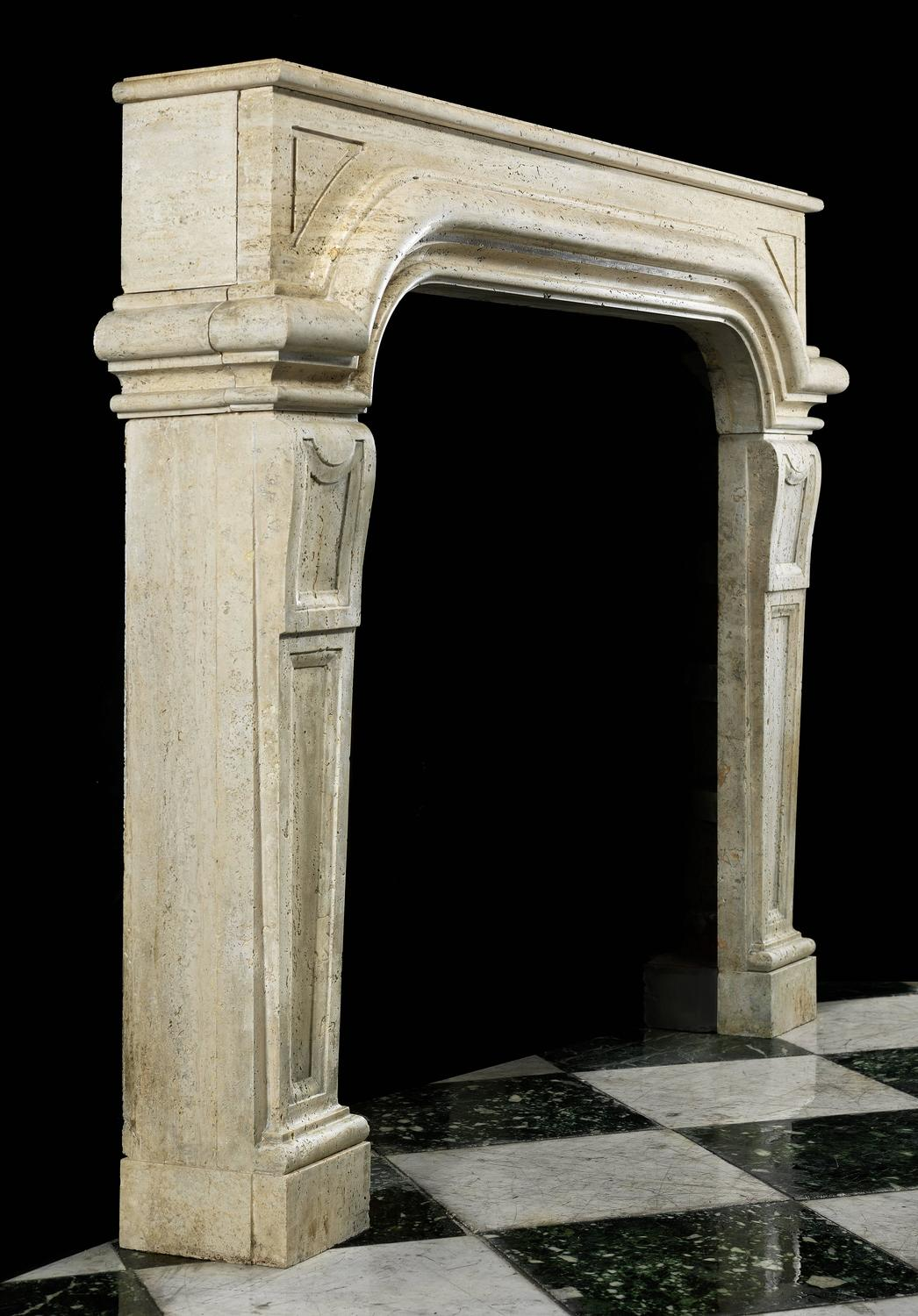 antique stone fireplace mantel in the italian baroque revival manner
