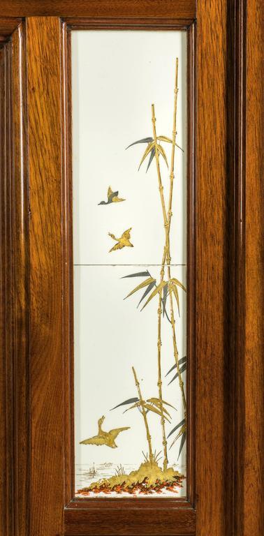 Antique Walnut Fireplace Mantel Set with Aesthetic Movement Minton Tiles For Sale 2 & Antique Walnut Fireplace Mantel Set with Aesthetic Movement Minton ...