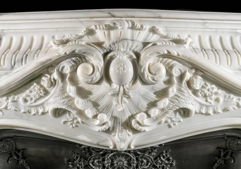 Carved Large French Rococo Fireplace in Statuary Marble  For Sale