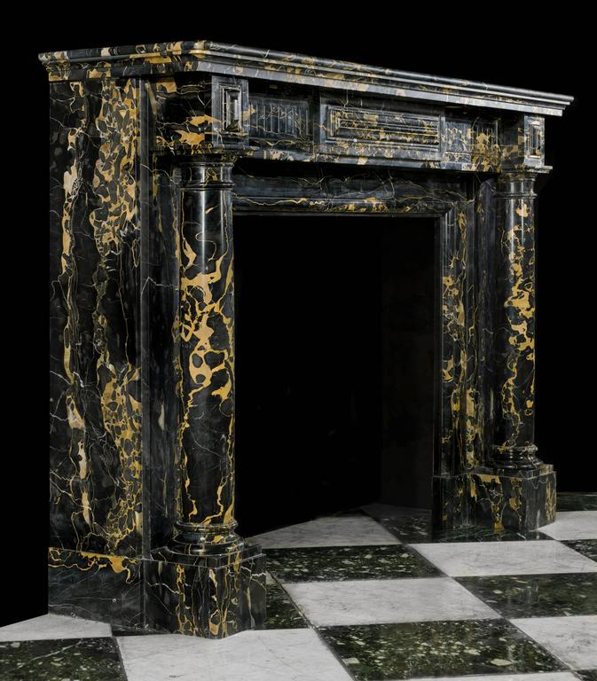 French Regency Antique Fireplace Mantel In Fine Portoro Marble For Sale At 1stdibs