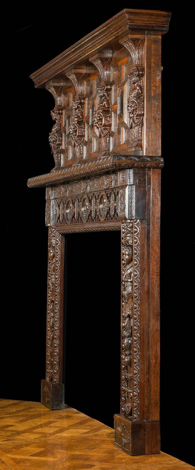 English Victorian Jacobean Style Carved Oak Antique