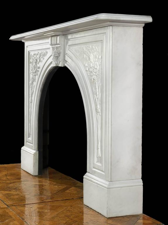 Victorian antique arched marble fireplace mantel for sale for Marble mantels for sale