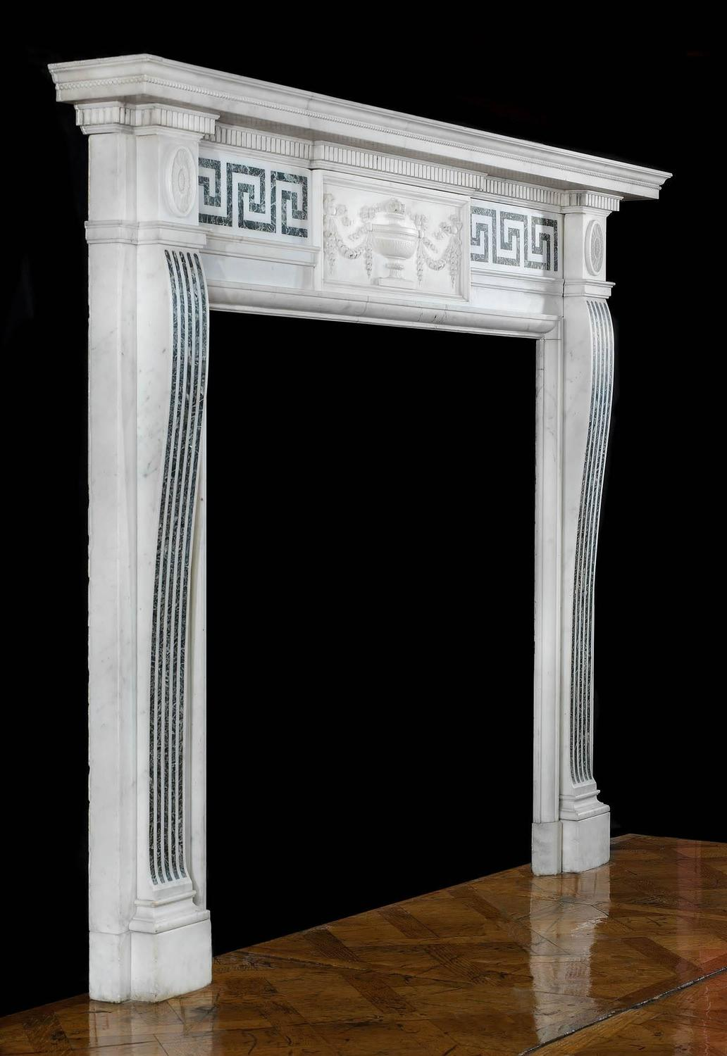 Elegant edwardian neo classical antique marble fireplace for Marble mantels for sale