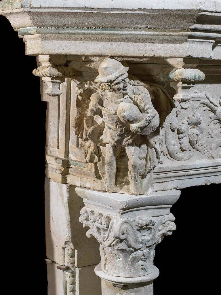 monumental renaissance style antique fireplace for