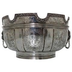 Edwardian Sterling Silver Chinoiserie Bowl London, 1905 Daniel & John Wellby