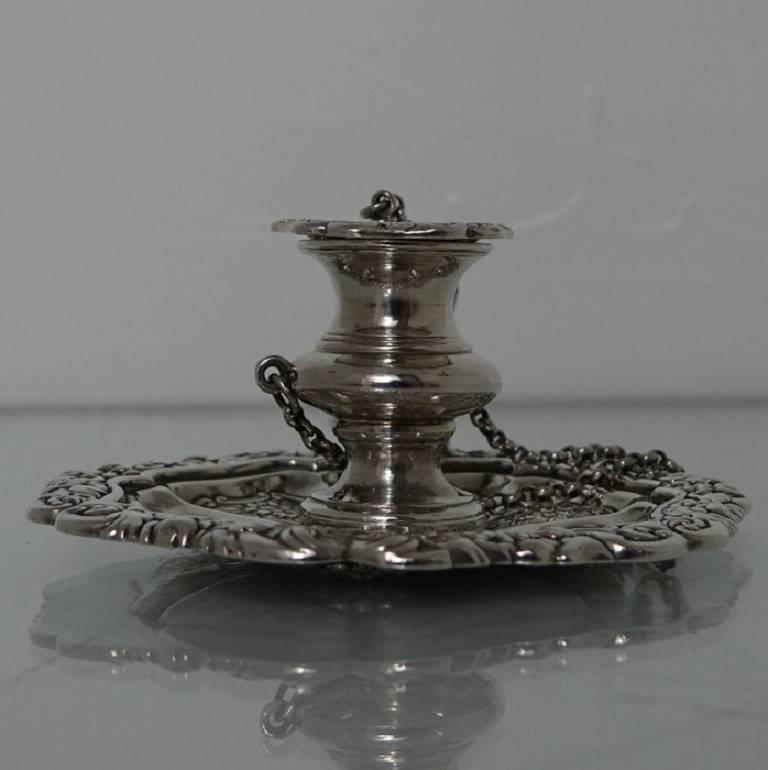 19th Century Antique George IV Sterling Silver Scottish Chamber-Stick Makers Mark A.E For Sale