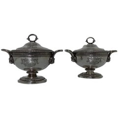 Pair of Antique George III Sterling Silver Sauce Tureens, London