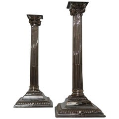Pair of George III Old Sheffield Candle Sticks, circa 1760, 'Marks Unidentified'