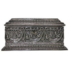 Antique Silver French Jewelry Casket, circa 1880